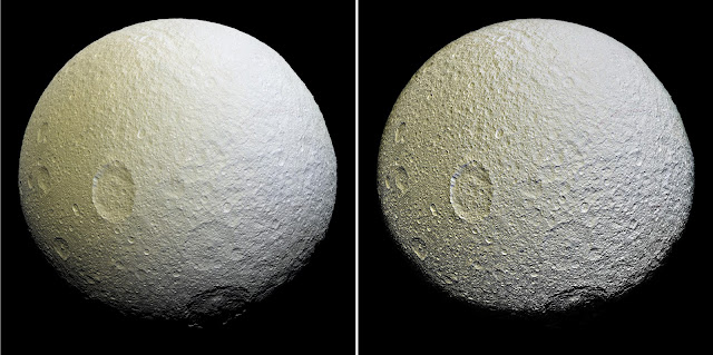 This enhanced-color mosaic of Saturn's icy moon Tethys shows a range of features on the moon's trailing hemisphere. Tethys is tidally locked to Saturn, so the trailing hemisphere is the side of the moon that always faces opposite its direction of motion as it orbits the planet. Credit: NASA/JPL-Caltech/Space Science Institute
