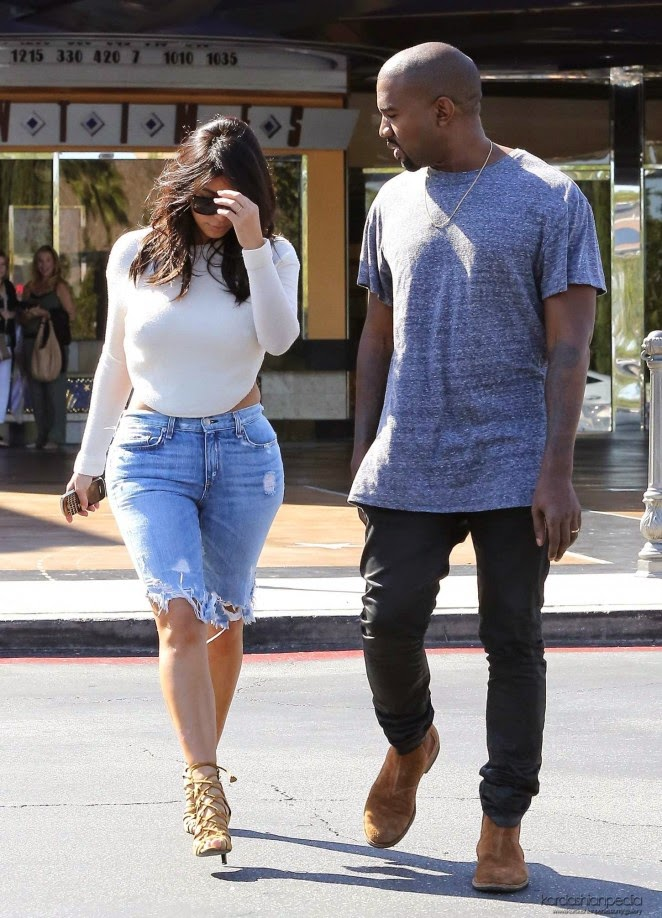 Kim Kardashian flaunts curves in backless top and denim shorts in Calabasas