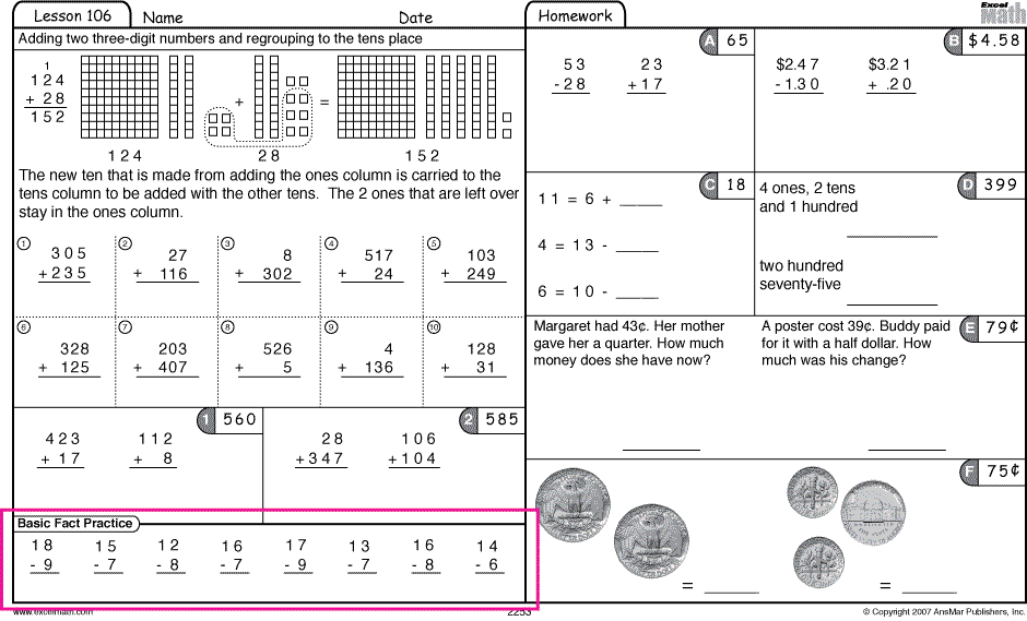 Worksheets Math Excel Worksheets excel math 72212 72912 basic fact practice from grade 2 student worksheet lesson 106