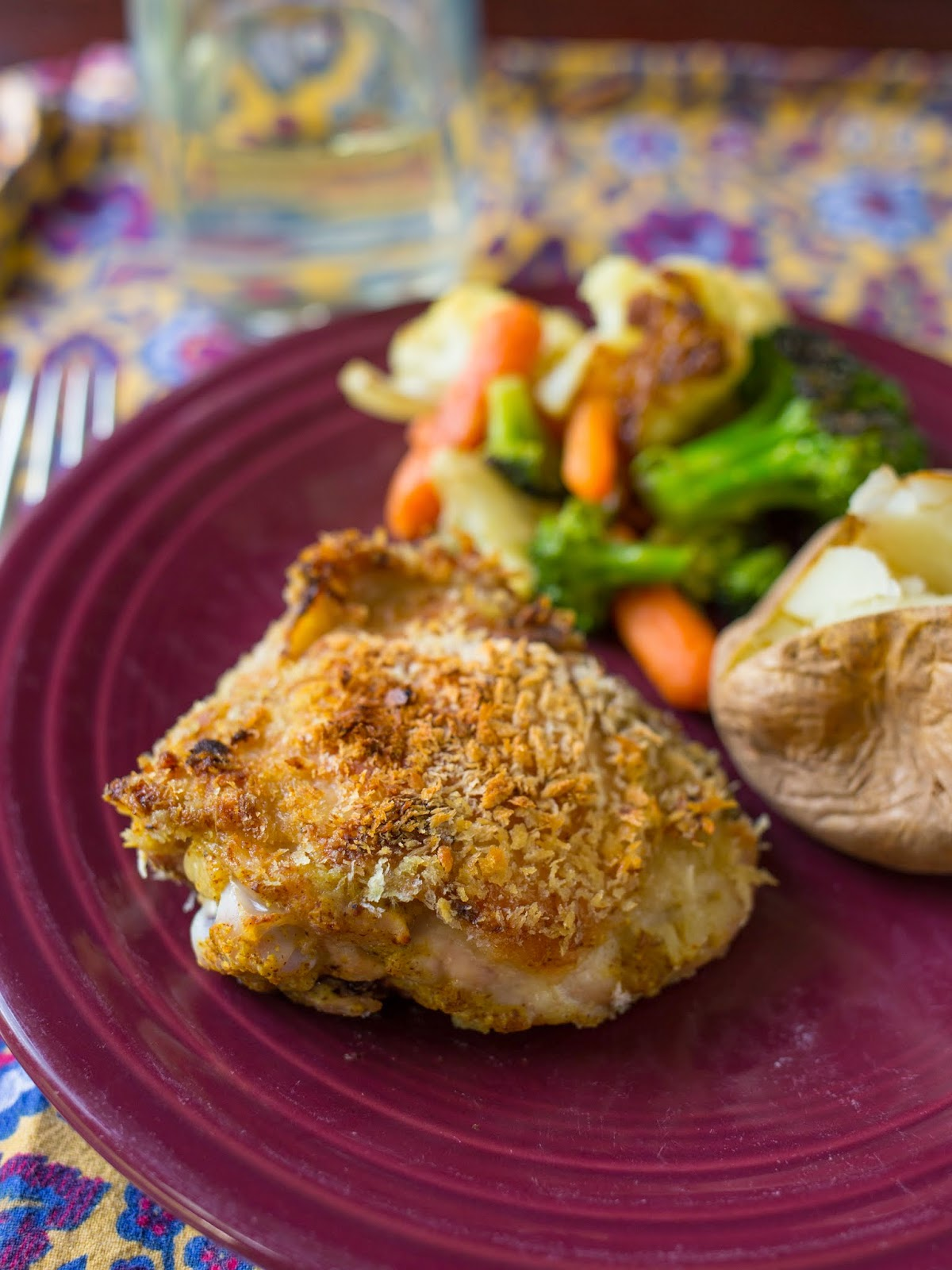 Baked Chicken Thighs with Mustard and Herbs