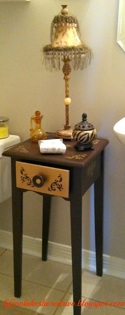 "alt=""Painted and stenciled table makeover brown and gold"""