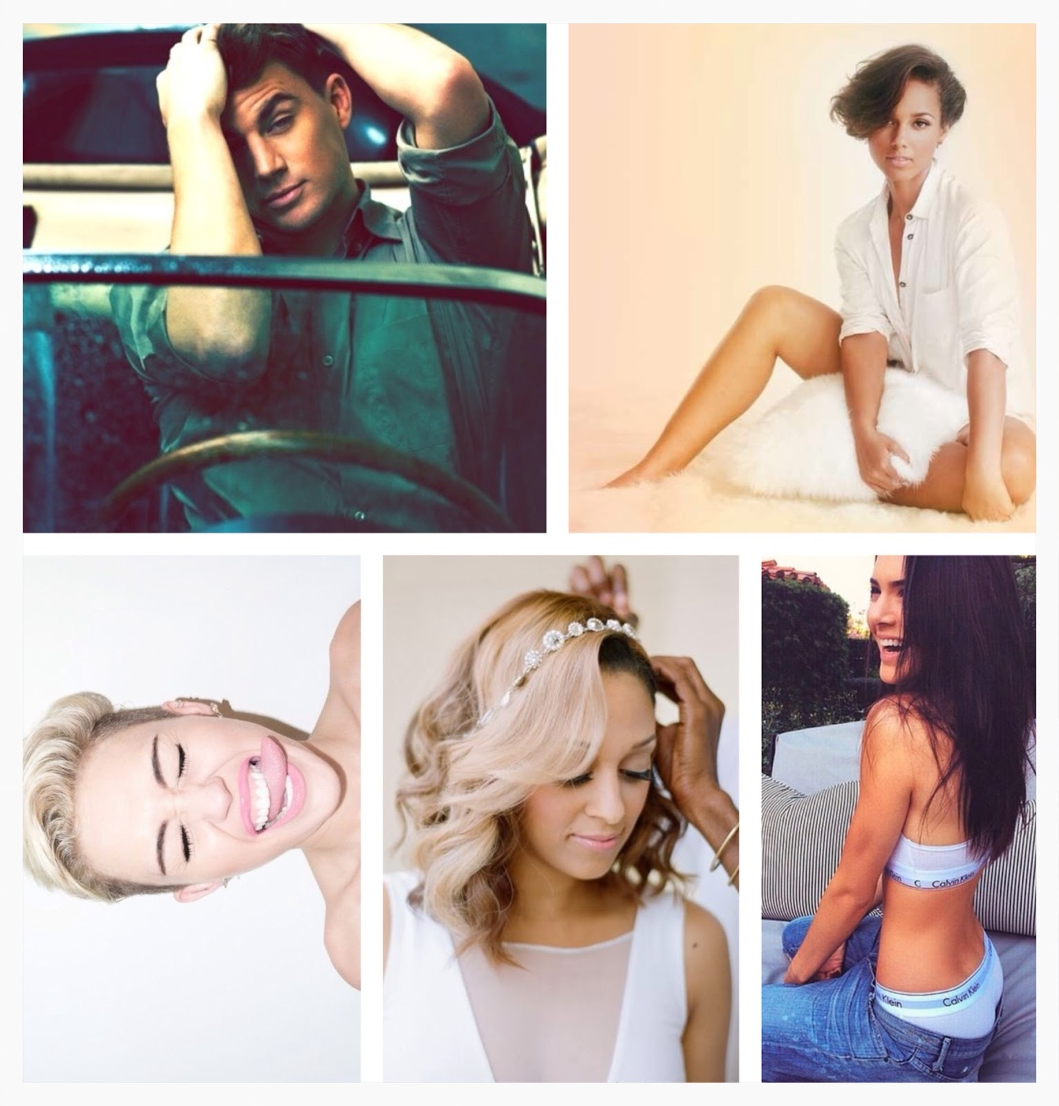 channing tatum, alicia keys, kendal jenner calvins, miley cyrus tongue, tia and tamara mowry, julianne hough