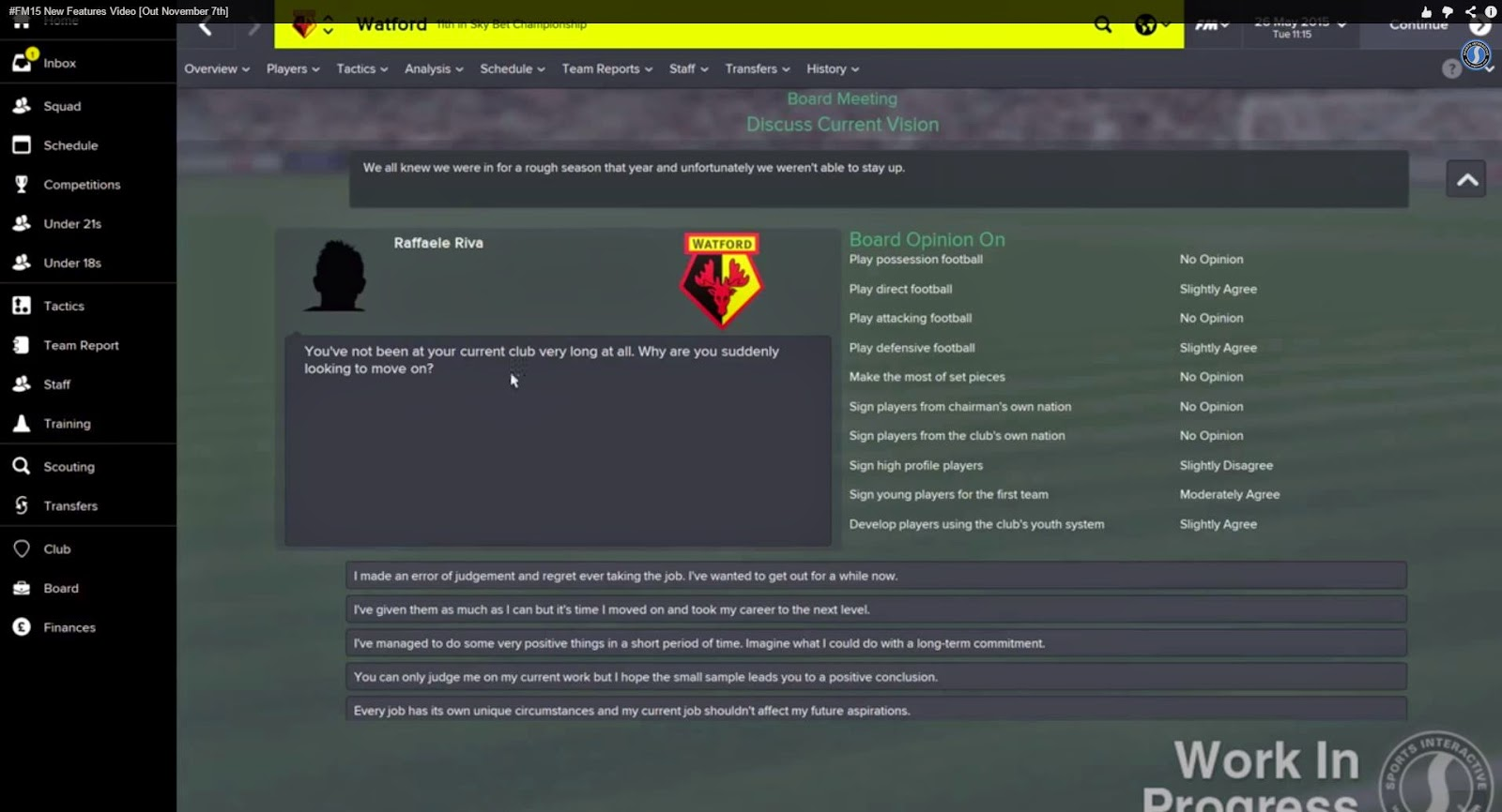 football manager 2015 features job interview