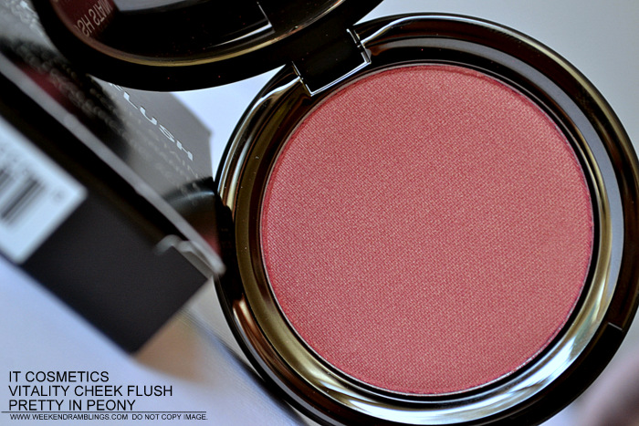 It Cosmetics Cheek Vitality Flush Powder Blush Stain Pretty in Peony Peach Pink Photos Review swatches FOTD Ingredients Indian Darker Skin Makeup Beauty Blog
