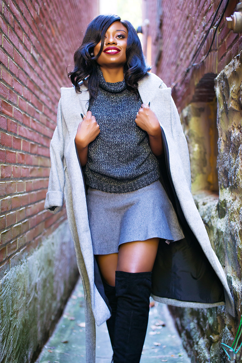 Skate skirt, grey coat, Sam edelman over the knee boots, www.jadore-fashion.com