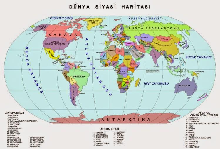 D�nya Siyasi Haritas� (B�y�k Boyutta)