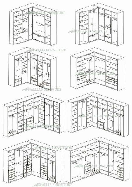sketsa lemari pakaian sudut minimalis