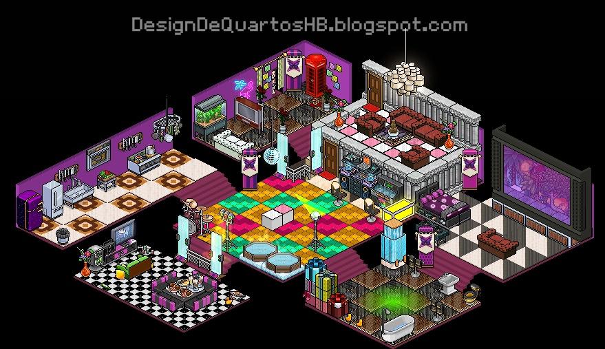 Casas Habblet ~ Mansões Luxuosas do Habbo Hotel ~ Design de Quartos Habbo