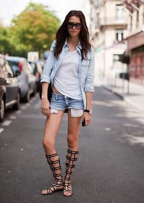 sandalia gladiadora short jeans