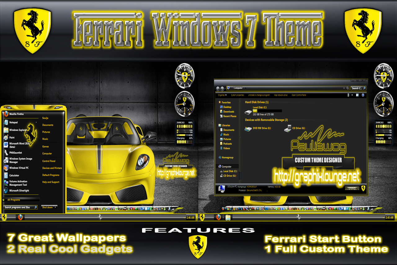 Download Yellow Ferari Theme Windows 7
