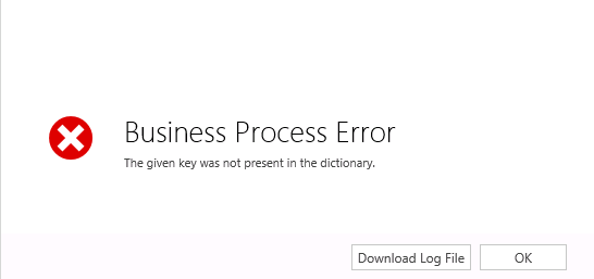 the given key was not present in the dictionary crm