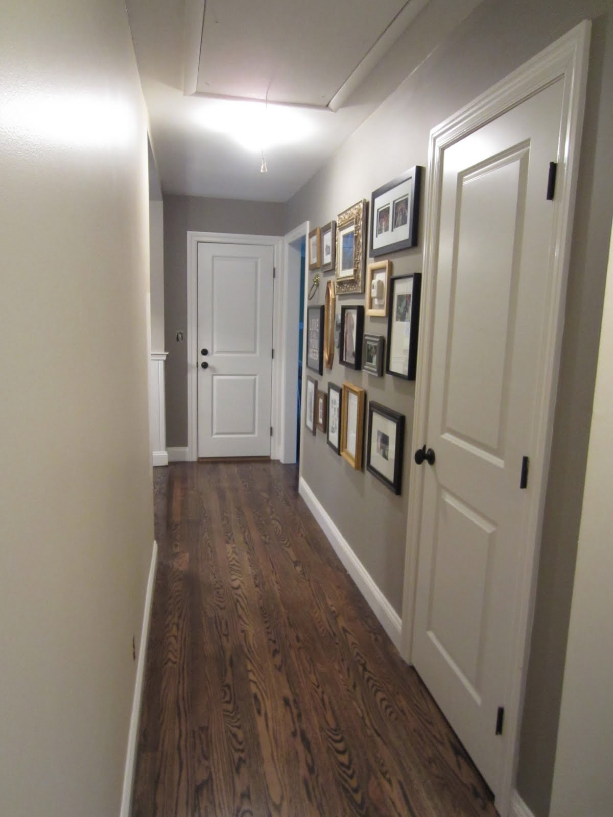 Just a touch of gray hallway gallery wall done for Hall paint colors images