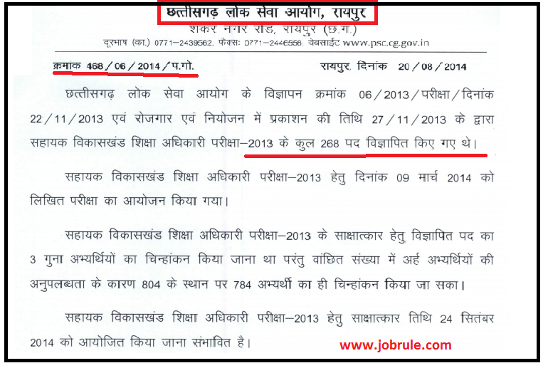 Check Chhattisgarh (CG) PSC Block Development Education Officer (BDEO) Written Exam Result 2014