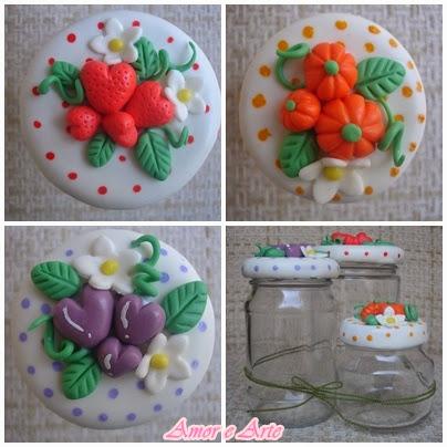 Morango, uva e pitanga, vidro decorado em biscuit (2)