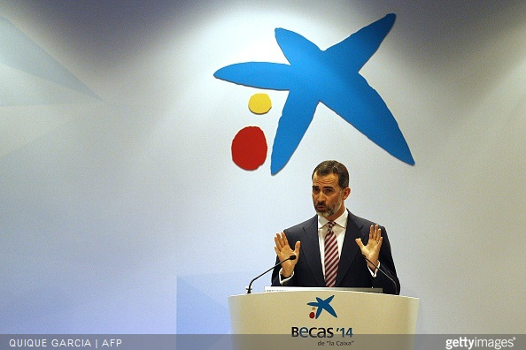 Spain's King Felipe VI speaks during the 33rd edition of the Caixa scholarship award ceremony in Barcelona