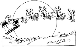 Santa flying on sleigh in sky over houses Christmas coloring page for children to draw colors