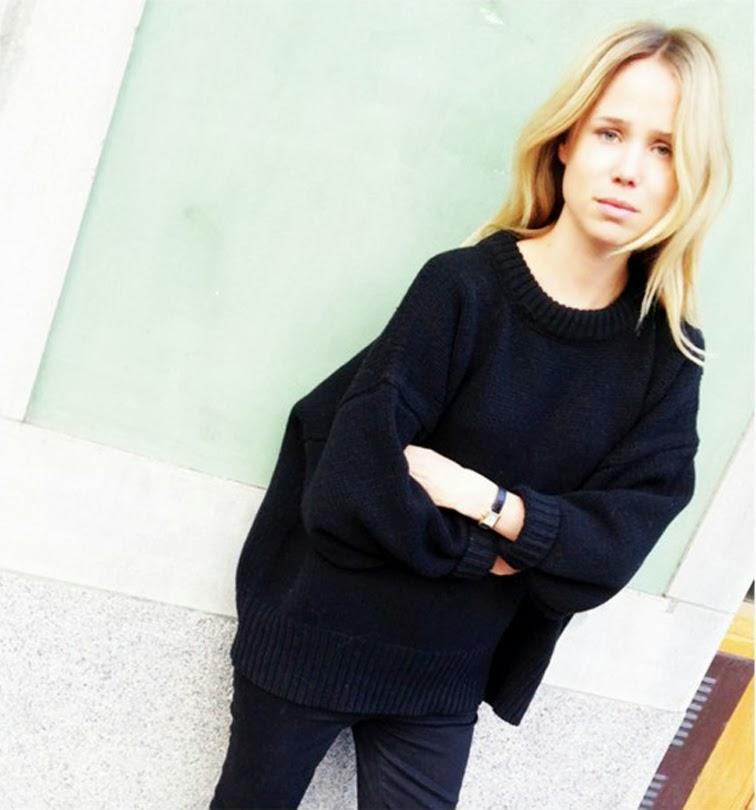 Elin Kling, style muse, chunky oversized knitwear sweater, black denim