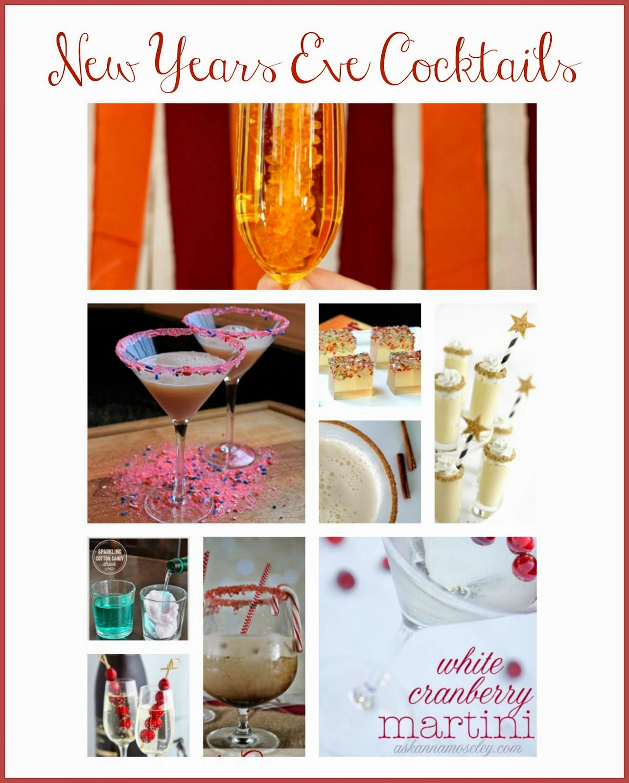New Years Eve Cocktails - Glitter & Sass.  Glittered Jello Shots.  Sparkling Cotton Candy Drinks. Candy Cane White Russian.  Snickerdoodle Martinis.  Fun Martinis.  Confetti Martini.  Fun drinks for New Years Eve.