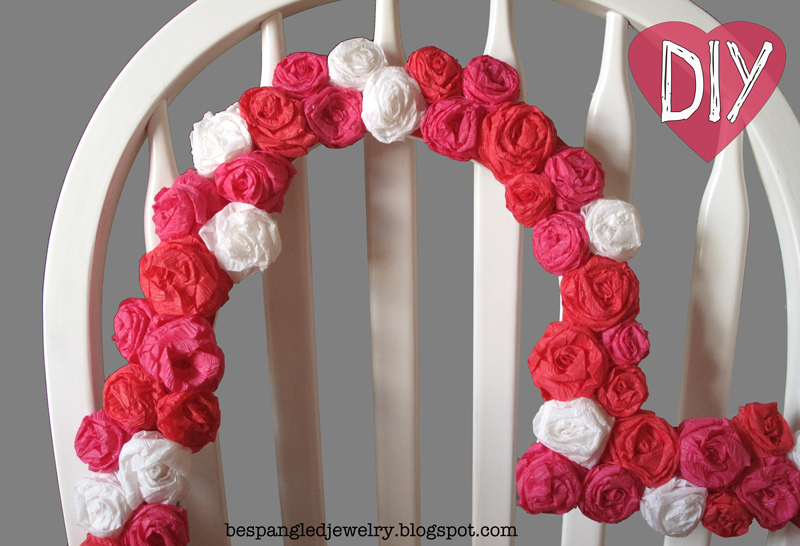 Bespangled jewelry diy crepe paper rosette heart frame tutorial how to make a crepe paper rose covered heart frame valentines day craft tutorial mightylinksfo