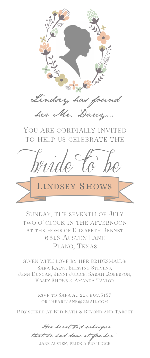 i am so excited about this invitation i designed it for my sister in laws bridal shower she adores jane austen and especially pride prejudice