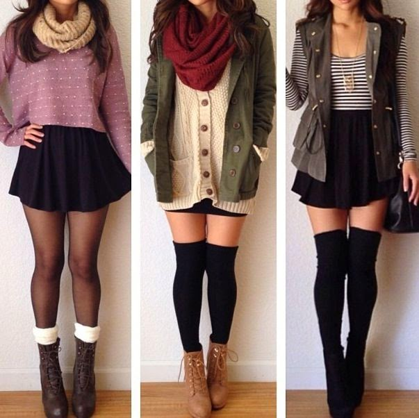 Perfect winter outfits with Combat Boots nice for school too