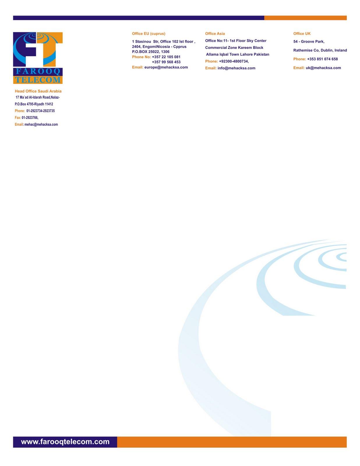 print web design farooq telecom letter head design
