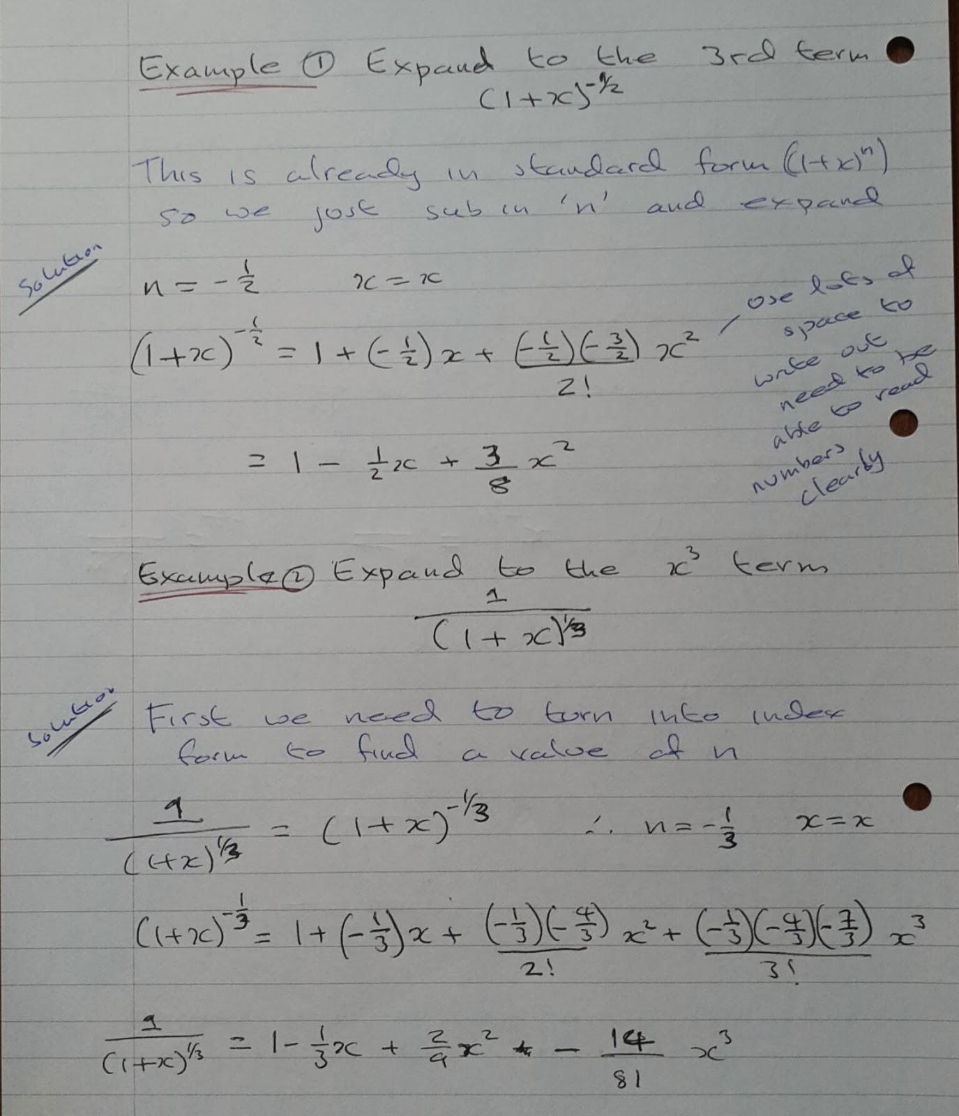 A Level Maths Notes A2 Binomial Expansion Negative Fractional Powers