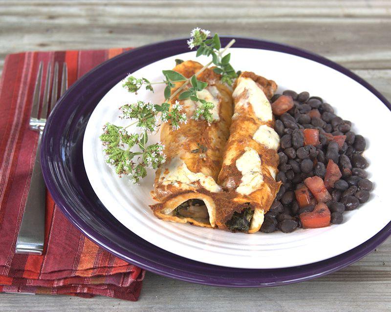 Vegan Spinach Mushroom and Cheese EnchiladasChez Cayenne