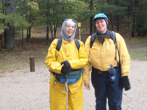 hikers in rain gear