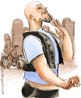 Bearded sleeping biker is a cartoon by Artmagenta