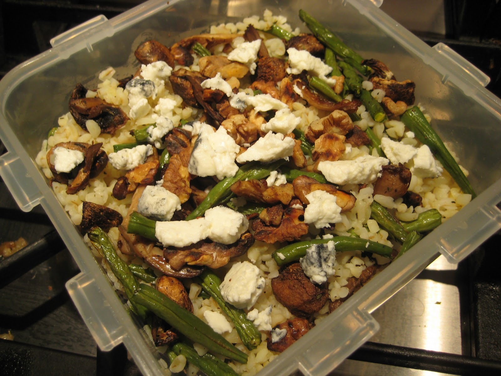 Lemon and Cheese: Roasted Mushroom and Green Bean Bulgar Wheat Salad