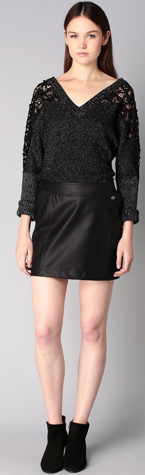 Jupe noire simili cuir Kaporal