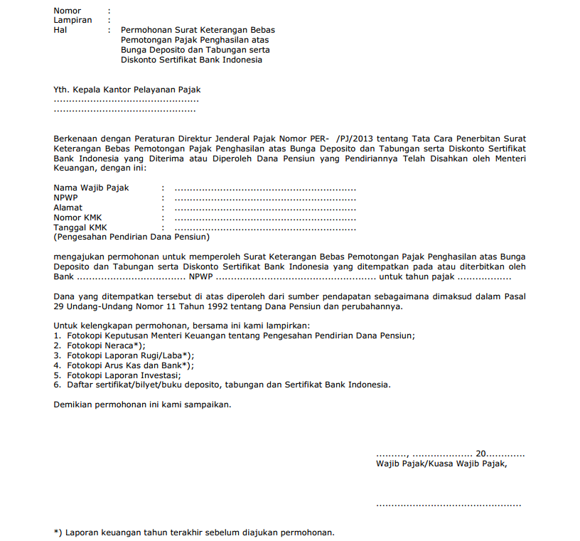 contoh surat permohonan SKB dana pensiun