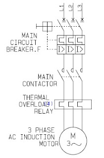 wiring diagram DOL electric motor control power circuit