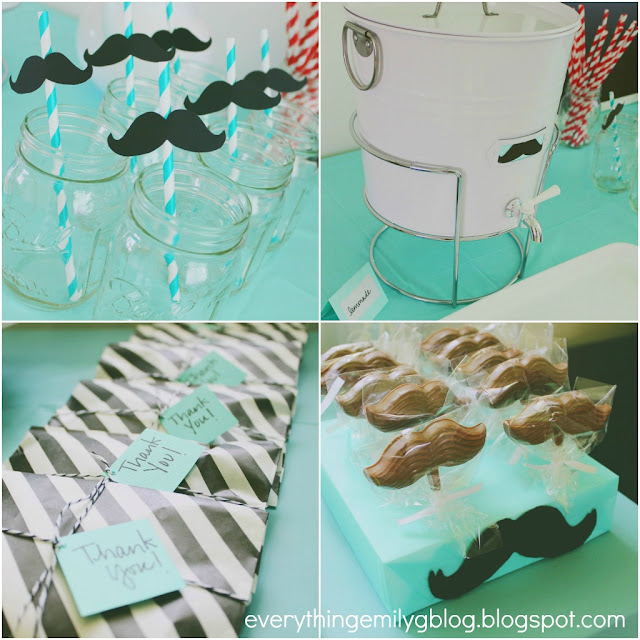 most of the decorations i made by hand and used a mustache template i