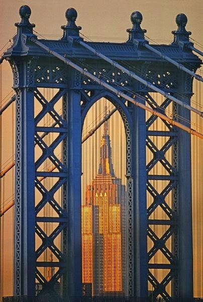 Manhattan Bridge Empire State Building. photo by Mitchell Funk