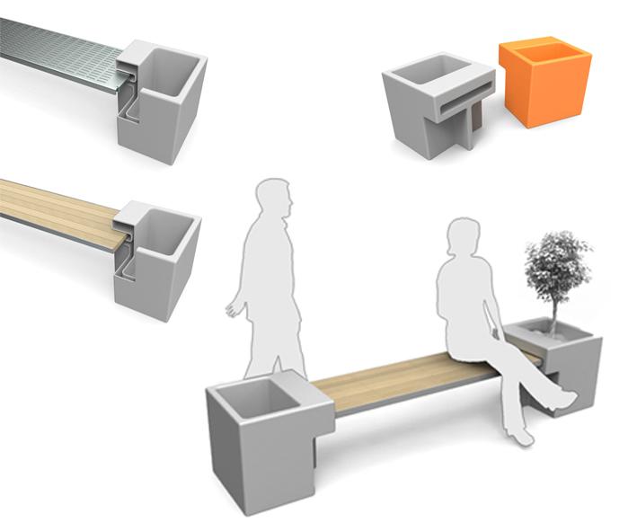 Cl udia dern design mobiliario urbano linea dise o for Banco exterior en linea