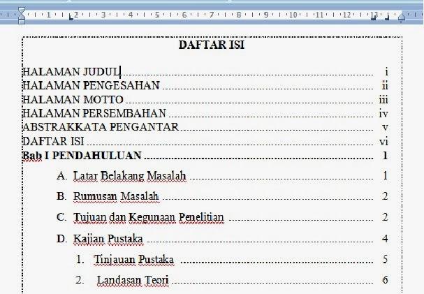 contoh daftar isi yang sudah diatur