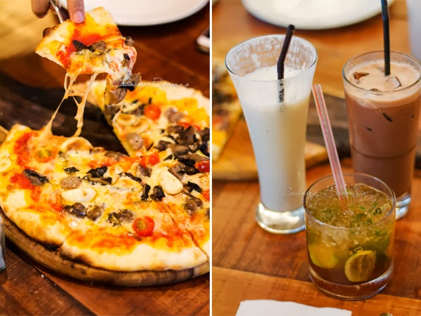 Left: Pizza Salsiccia   Right: (clockwise from top left) Coconut Smoothies   Iced Cappuccino   Ginger Twist Cooler