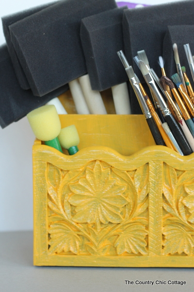 Paint brush organizer -- revamp a letter organizer to house your paint brushes with this super simple idea.