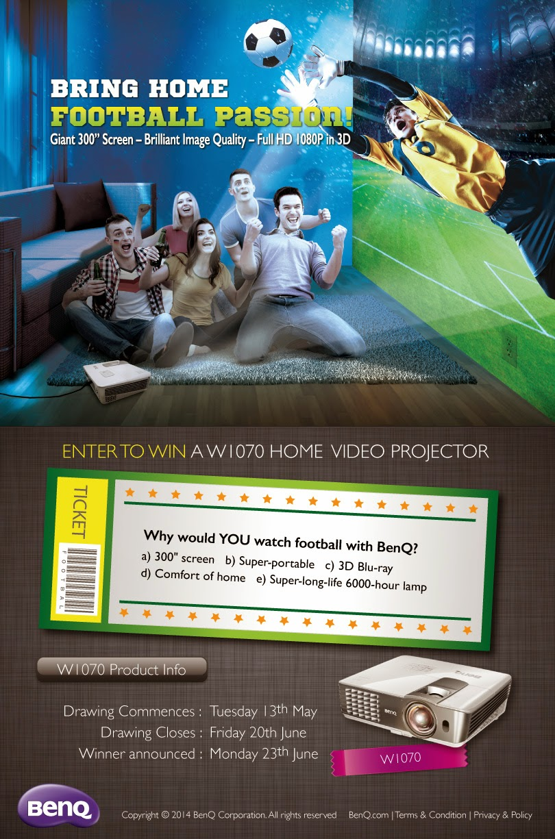 "Enter to win a 300"" W1070 Home Video Projector from BenQ. Giveaway ends 6/20."