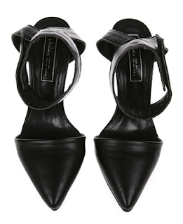 Naning9 black leather pointed toe ankle strap sandal heels