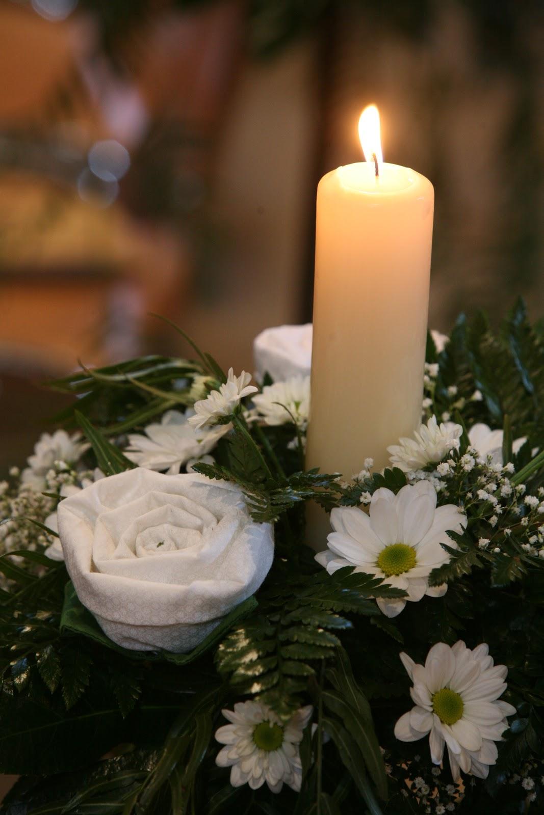Imagen centro de mesa con velas y flores blancas car interior design - Centros con velas ...