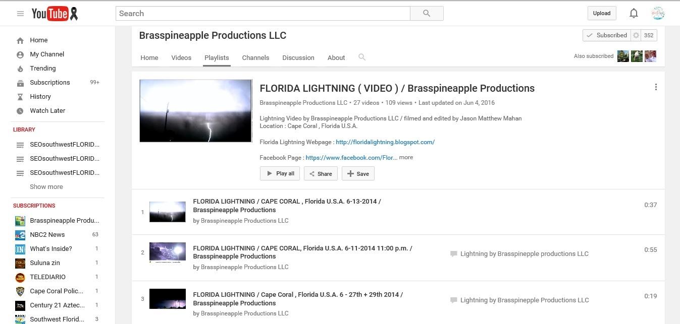 FLORIDA LIGHTNING VIDEO PLAYLIST YOUTUBE