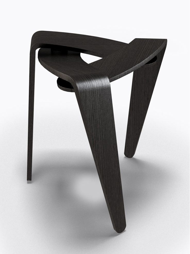 designer stool in dark wood