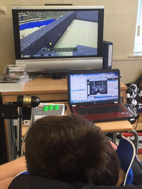 Minecraft played with One Switch by Colin McDonnell at William Merritt, with thanks to SpecialEffect and OneSwitch