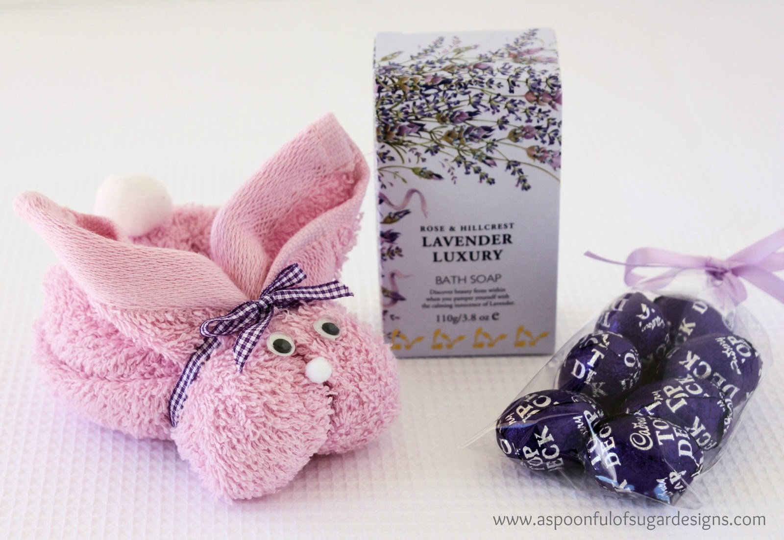 Easter gift ideas a spoonful of sugar if you like practical gifts you can assemble a bunny from a face cloth teamed with soap bath products or bath toys it makes a fun easter gift for young negle Image collections