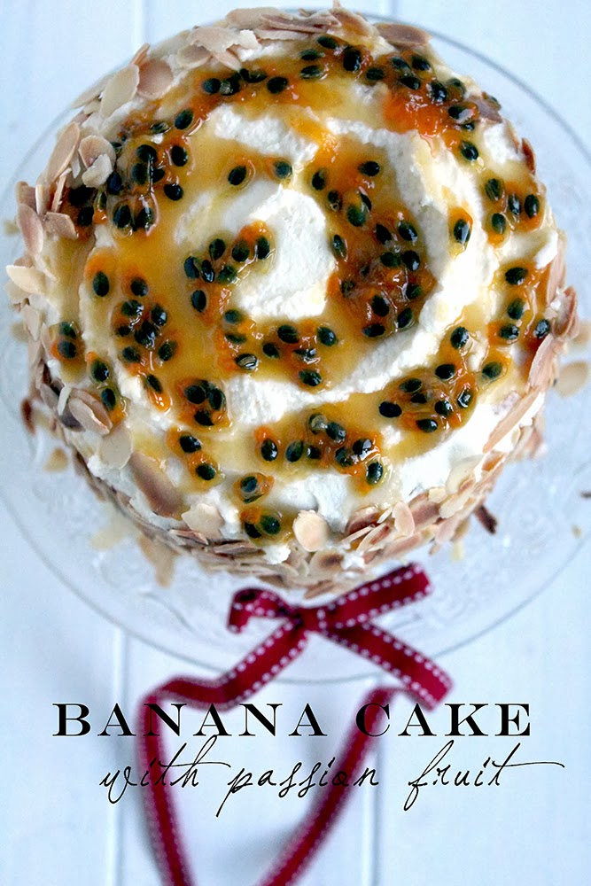 banana cake with mascarpone frosting and passionfruit syrup