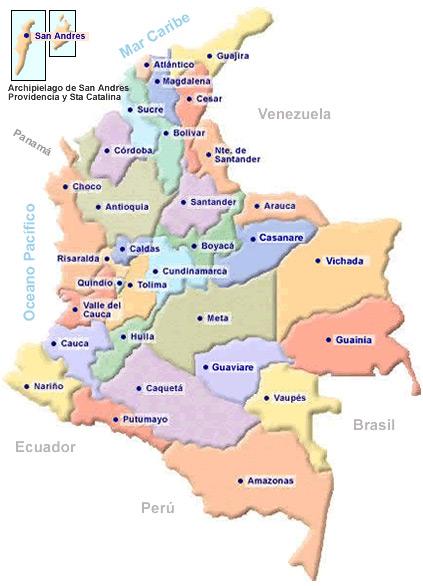 mapa de colombia y sus departamentos