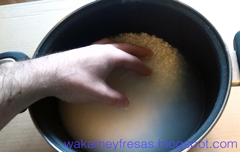 quitando el almidón del arroz